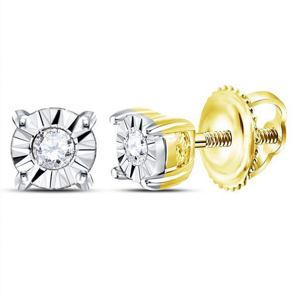 Round Diamond Solitaire Illusion Earrings 1/20 Cttw 10KT Yellow Gold