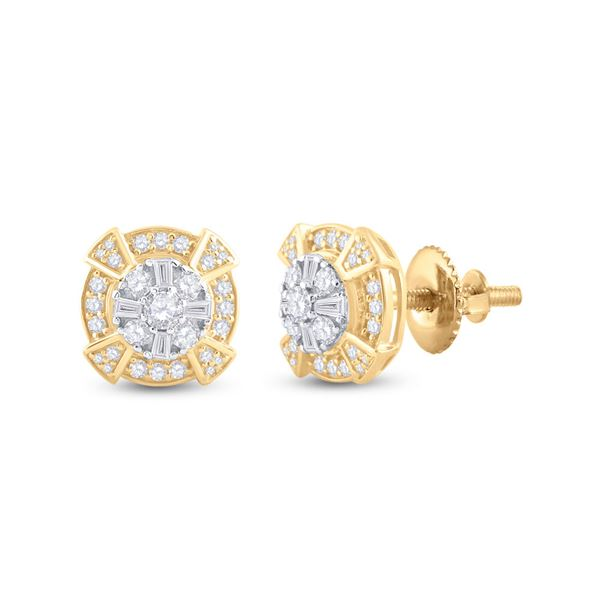 Baguette Diamond Circle Cluster Earrings 3/4 Cttw 14KT Yellow Gold