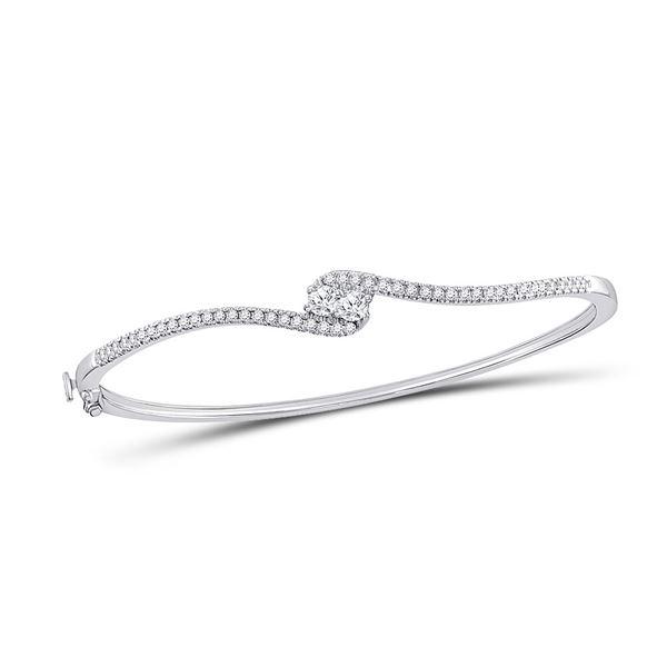 Round Diamond Bypass 2-stone Bracelet 3/4 Cttw 14KT White Gold