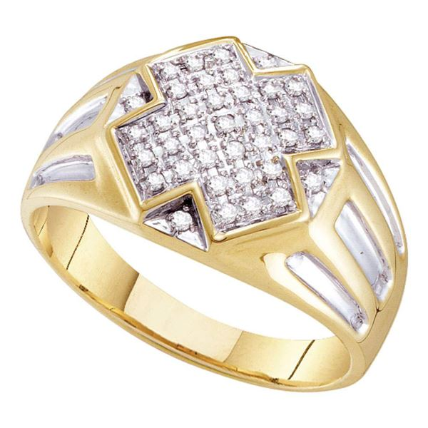 Round Diamond Cross Cluster Ring 1/4 Cttw 10KT Yellow Gold