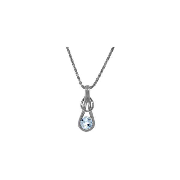 Genuine 0.65 ctw Aquamarine Necklace 14KT White Gold - REF-75R6P
