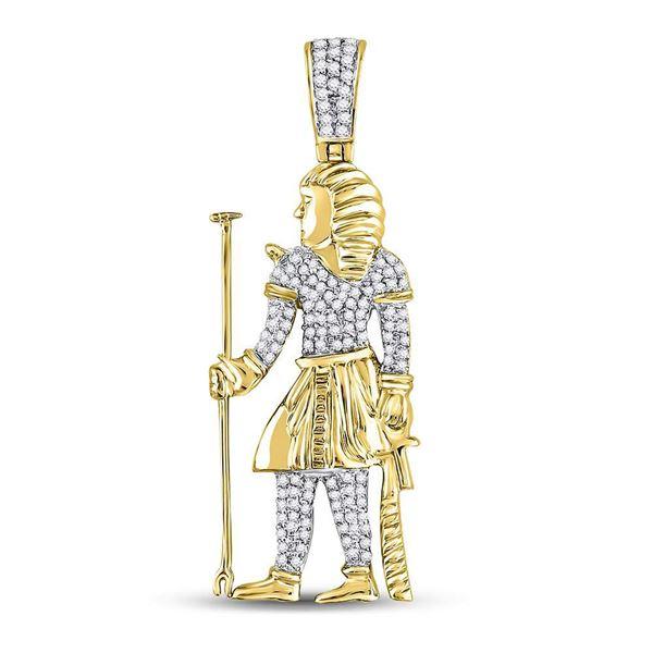 Round Diamond Egyptian Pharaoh Charm Pendant 3/8 Cttw 10KT Yellow Gold