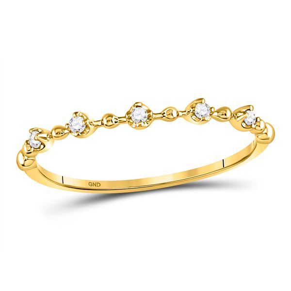 Round Diamond Bead Dot Stackable Ring 1/20 Cttw 10KT Yellow Gold