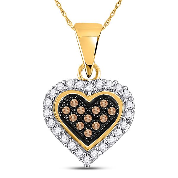Round Brown Diamond Heart Cluster Pendant 1/8 Cttw 10KT Yellow Gold