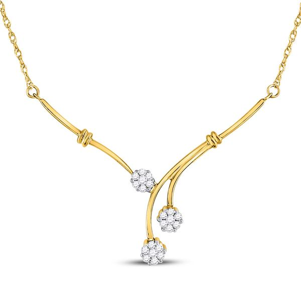 Round Diamond Triple Flower Cluster Necklace 1/4 Cttw 14KT Yellow Gold