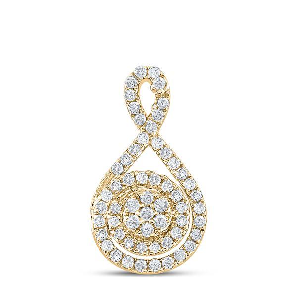 Round Diamond Cluster Pendant 1/4 Cttw 14KT Yellow Gold