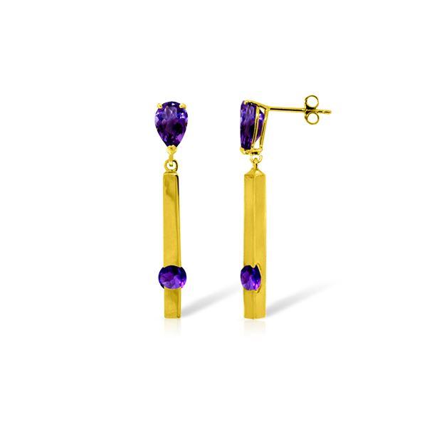 Genuine 4.25 ctw Amethyst Earrings 14KT Yellow Gold - REF-54R6P