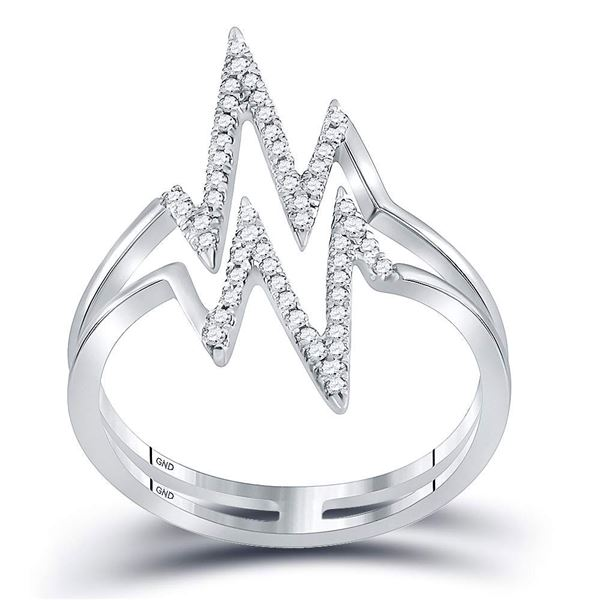 Round Diamond Double Heartbeat Ring 1/5 Cttw 10KT White Gold