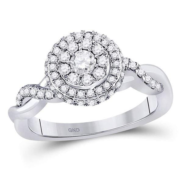 Diamond Cluster Bridal Wedding Engagement Ring 3/4 Cttw 10KT White Gold