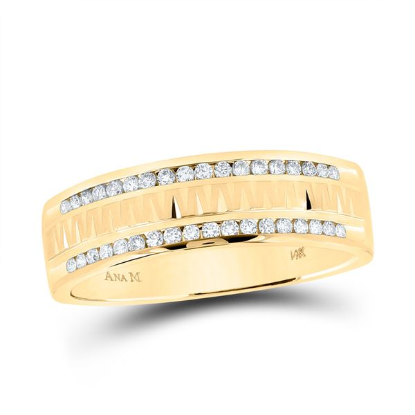 Round Diamond Wedding Double Row Band Ring 1/4 Cttw 14KT Yellow Gold