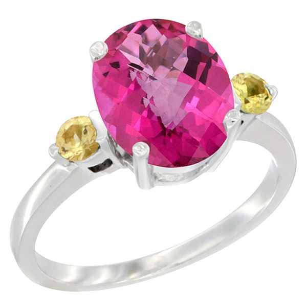 2.64 CTW Pink Topaz & Yellow Sapphire Ring 10K White Gold - REF-24W5F