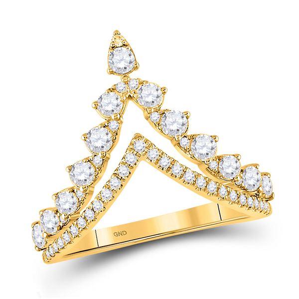 Round Diamond Chevron Band Ring 3/4 Cttw 14KT Yellow Gold