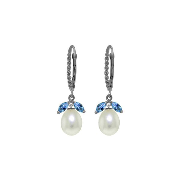 Genuine 9 ctw Blue Topaz & Pearl Earrings 14KT White Gold - REF-39P3H