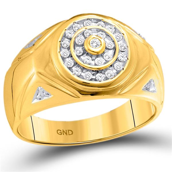 Round Diamond Concentric Circle Cluster Ring 1/4 Cttw 10KT Yellow Gold