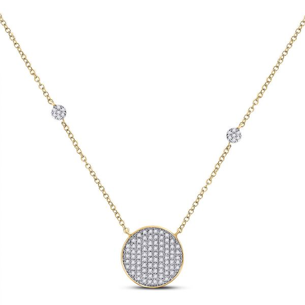 Round Diamond Circle Cluster Necklace 1/4 Cttw 10KT Yellow Gold