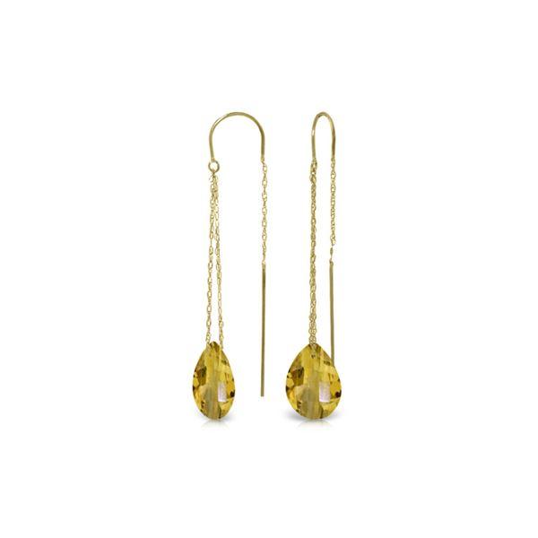 Genuine 6 ctw Citrine Earrings 14KT Yellow Gold - REF-21M9T