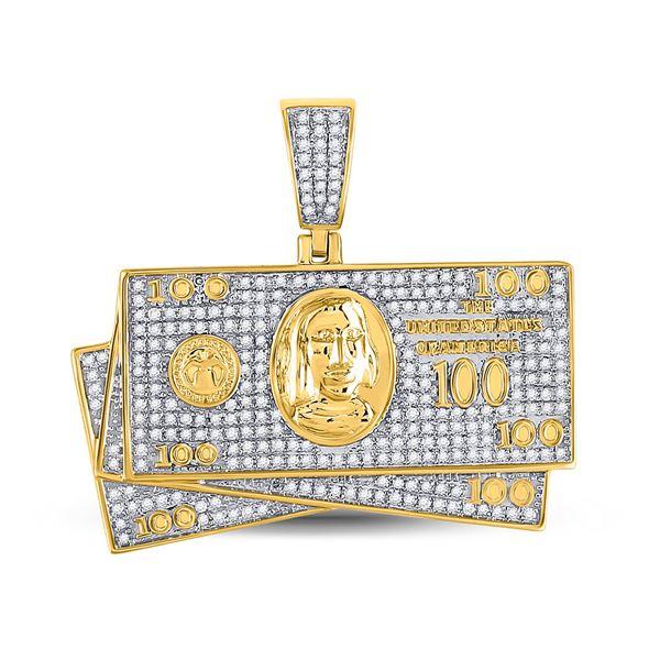 Round Diamond Money Stack Charm Pendant 3/4 Cttw 10KT Yellow Gold