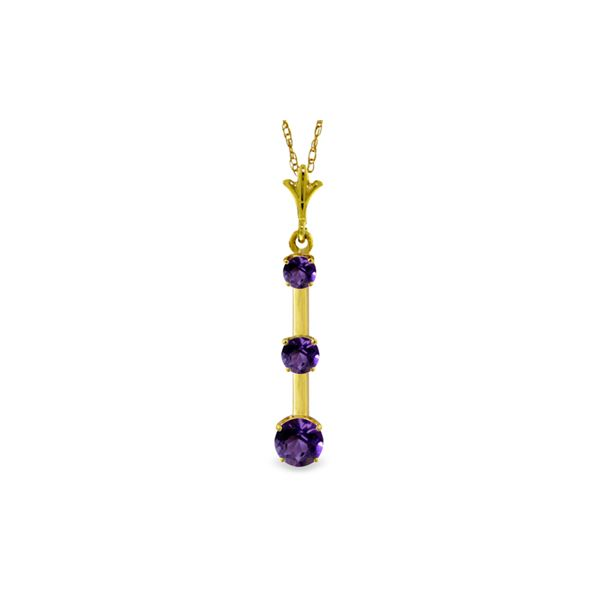 Genuine 1.25 ctw Amethyst Necklace 14KT Yellow Gold - REF-29P3H