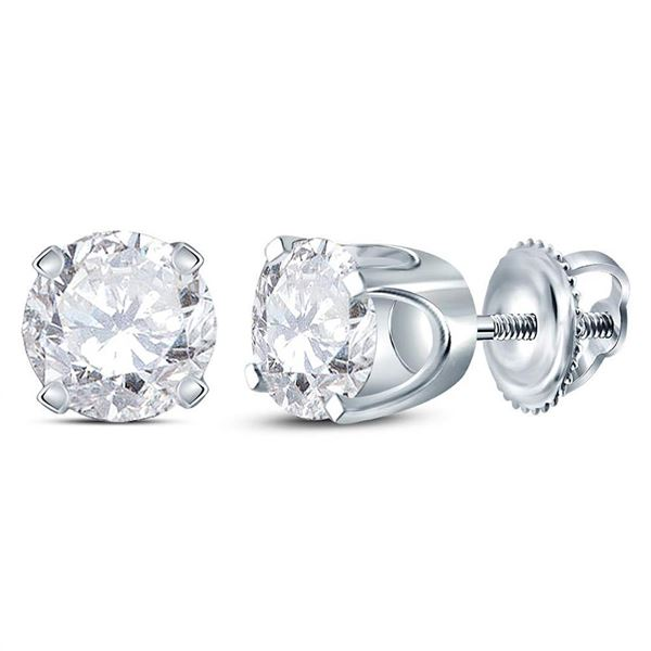 Round Diamond Solitaire Earrings 1 Cttw 14KT White Gold