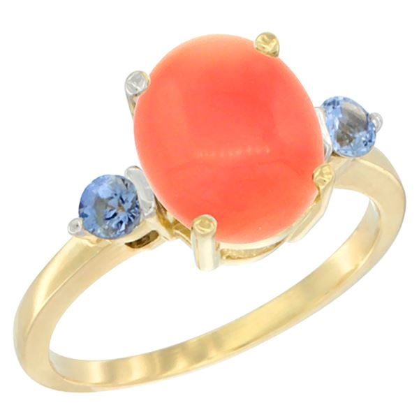 0.24 CTW Blue Sapphire & Natural Coral Ring 10K Yellow Gold - REF-23F9N