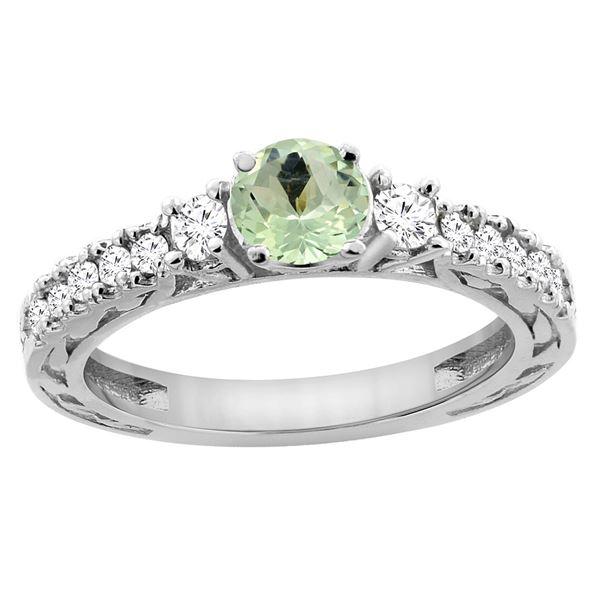 1.10 CTW Amethyst & Diamond Ring 14K White Gold - REF-79A3X