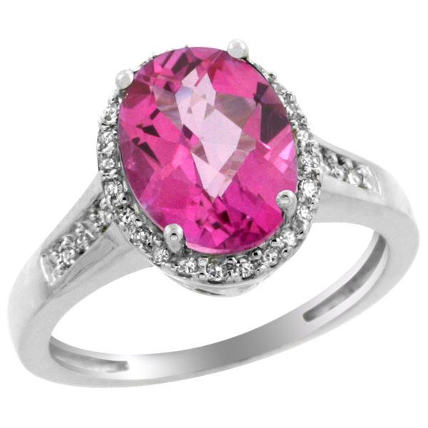 2.60 CTW Pink Topaz & Diamond Ring 14K White Gold - REF-54M7K