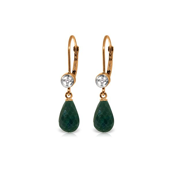 Genuine 6.63 ctw Green Sapphire Corundum & Diamond Earrings 14KT Rose Gold - REF-29X7M