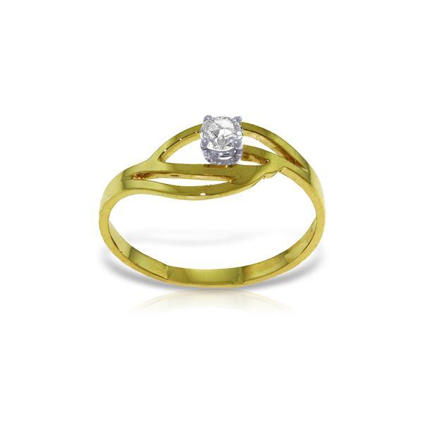 Genuine 0.15 ctw Diamond Anniversary Ring 14KT Yellow Gold - REF-42V2W