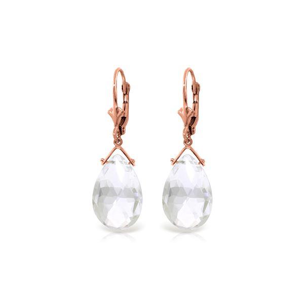Genuine 10.20 ctw White Topaz Earrings 14KT Rose Gold - REF-28R9P