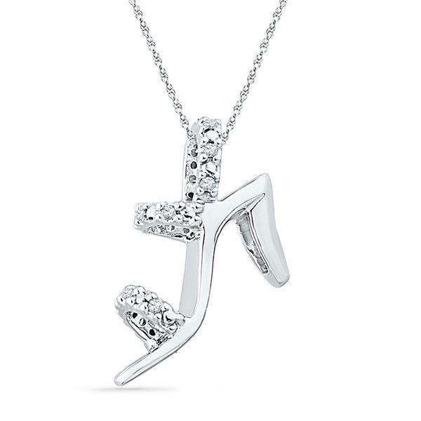 Round Diamond Stiletto Shoe Pendant 1/20 Cttw 10KT White Gold