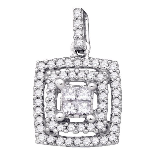 Princess Diamond Square Cluster Pendant 1/3 Cttw 14KT White Gold