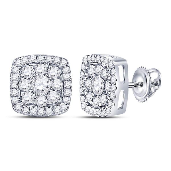 Round Diamond Square Cluster Earrings 1-1/4 Cttw 14KT White Gold