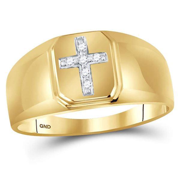 Round Diamond Cross Band Ring 1/20 Cttw 10KT Yellow Gold