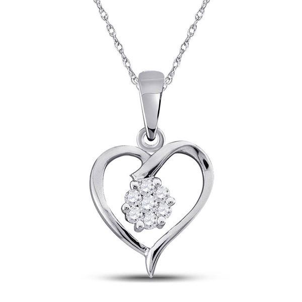 Round Diamond Flower Cluster Heart Pendant 1/12 Cttw 10KT White Gold