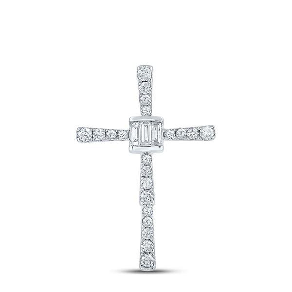 Baguette Diamond Cross Pendant 5/8 Cttw 14KT White Gold