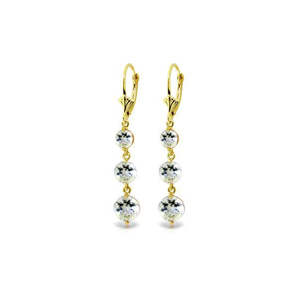 Genuine 7.2 ctw Aquamarine Earrings 14KT Yellow Gold - REF-63F4Z