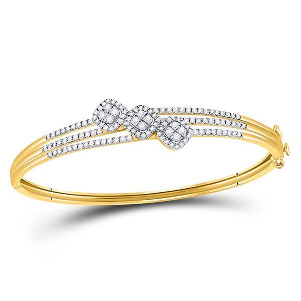 Round Diamond Triple Cluster Bangle Bracelet 1-1/4 Cttw 14KT Yellow Gold