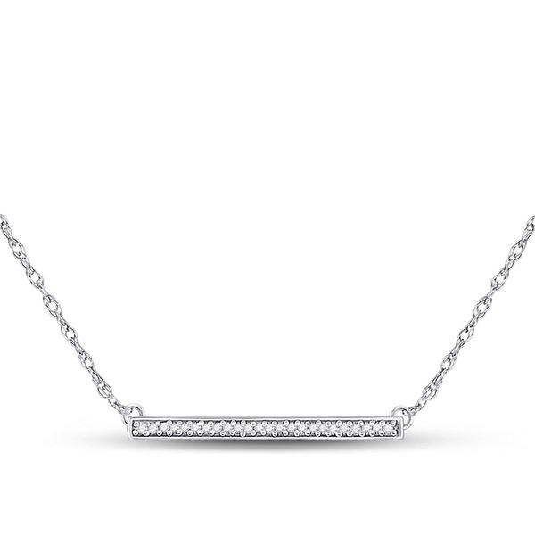 Round Diamond Horizontal Bar Pendant Necklace 1/10 Cttw 10KT White Gold