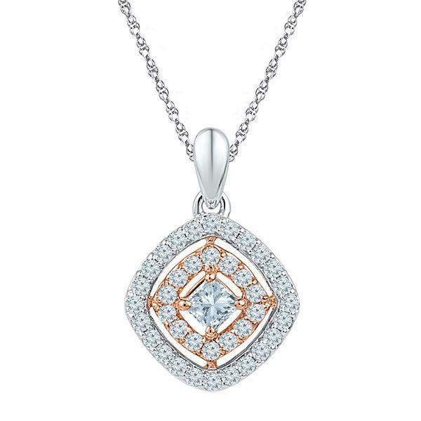 Princess Diamond Offset Square Pendant 1/2 Cttw 10KT Two-tone Gold