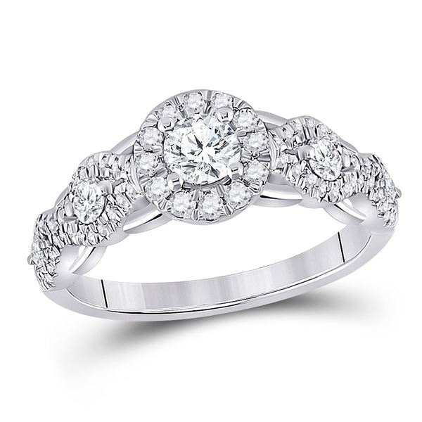 Diamond Halo Bridal Wedding Engagement Ring 1 Cttw 14KT White Gold