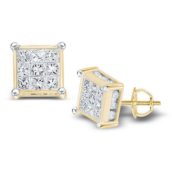Princess Diamond Cluster Stud Earrings 1/4 Cttw 14KT Yellow Gold
