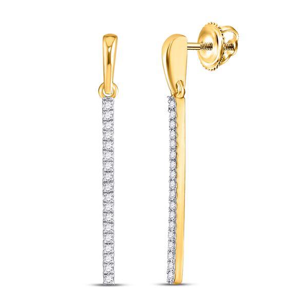 Round Diamond Bar Drop Dangle Earrings 1/5 Cttw 10KT Yellow Gold