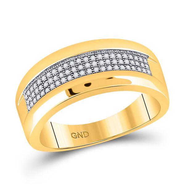 Round Pave-set Diamond Wedding Band Ring 1/4 Cttw 10KT Yellow Gold