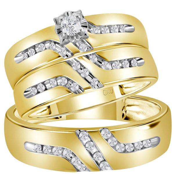Diamond Solitaire Matching Wedding Set 1/4 Cttw 14KT Yellow Gold
