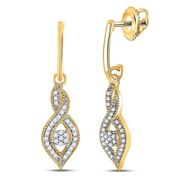 Round Diamond Cluster Dangle Earrings 1/6 Cttw 10KT Yellow Gold