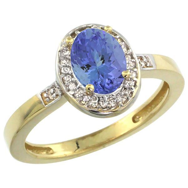 0.92 CTW Tanzanite & Diamond Ring 10K Yellow Gold - REF-38H2M