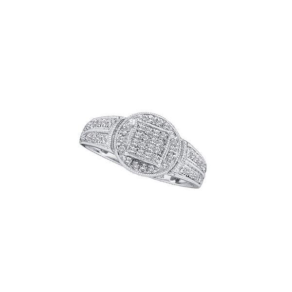 Round Diamond Circle Frame Cluster Ring 1/5 Cttw 14KT White Gold