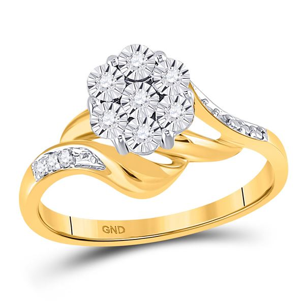 Round Diamond Flower Cluster Ring 1/20 Cttw 10KT Yellow Gold
