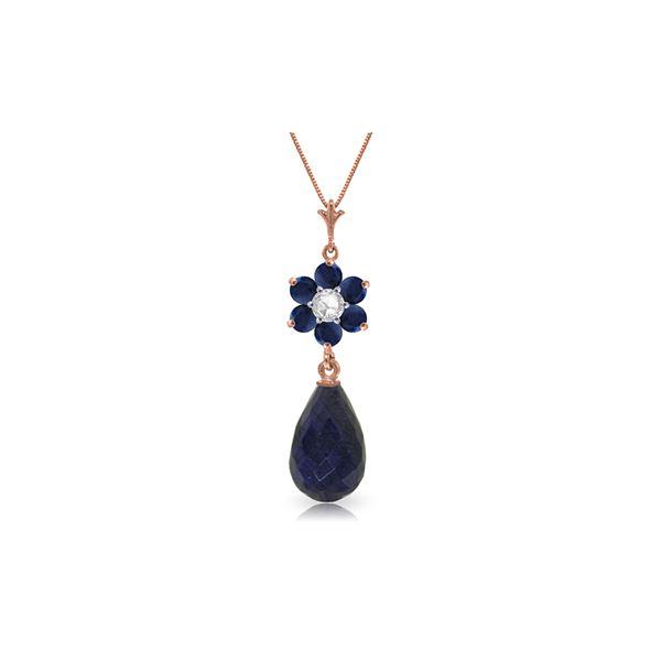 Genuine 3.83 ctw Sapphire & Diamond Necklace 14KT Rose Gold - REF-32W9Y