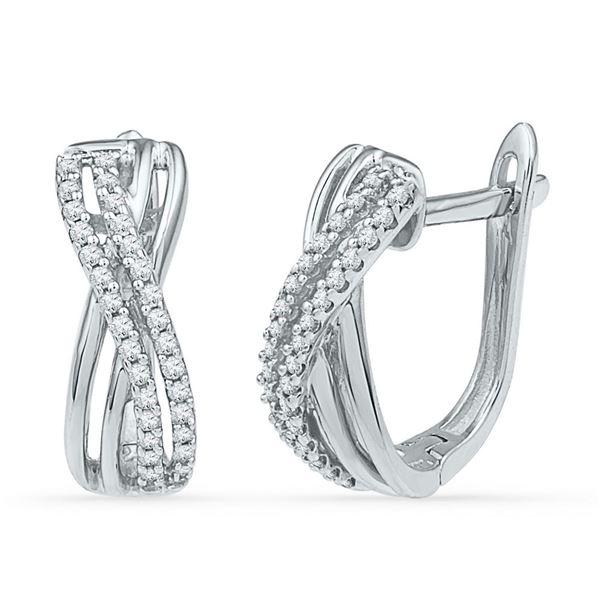 Round Diamond Hoop Earrings 1/5 Cttw 10KT White Gold